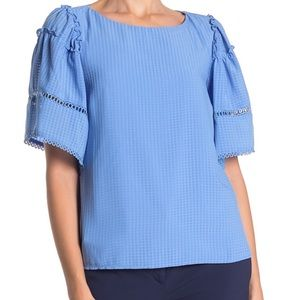 ADELYN RAE GINGHAM  EVERLY TONAL TOP BLOUSE SM NEW